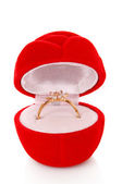 Gold ring in box — Stock Photo