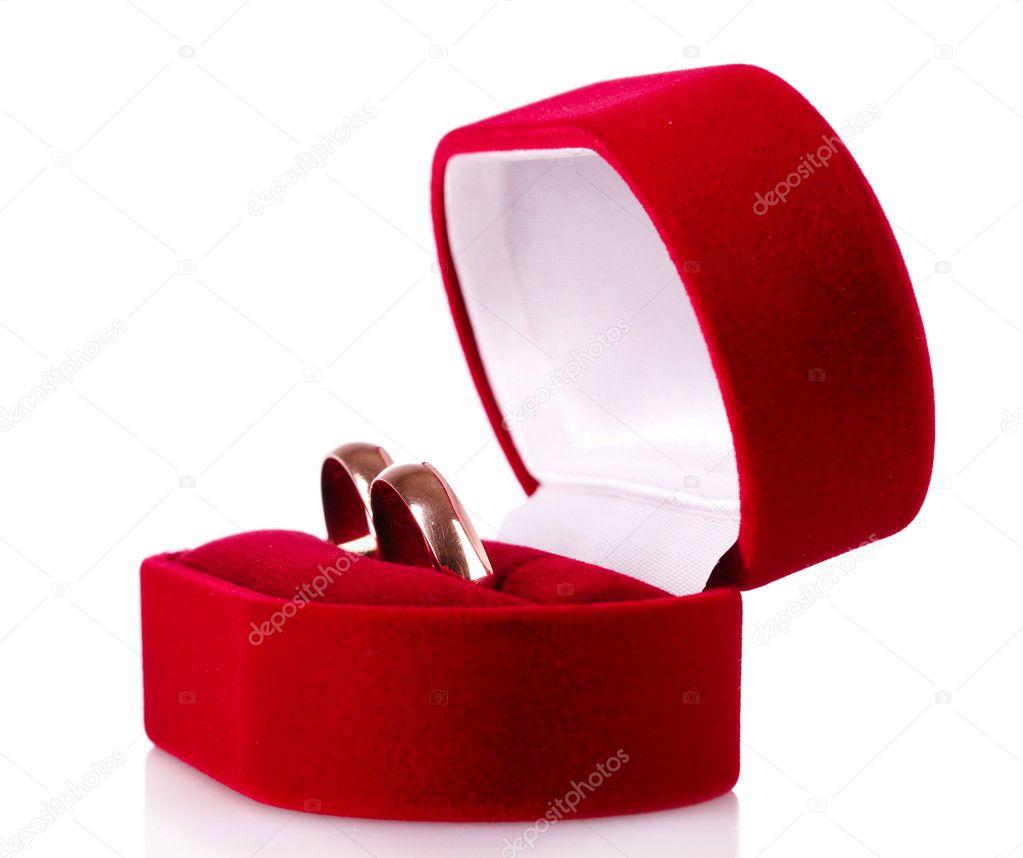 Wedding Gift Deposit Box : Trouwringen in een rode giftdoos ge?soleerd op witStockfoto ...