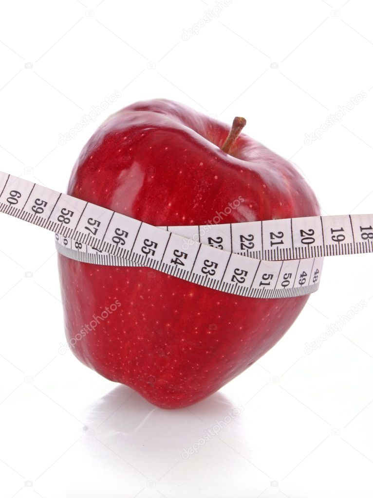 Red apple and a measure tape, diet concept  Stock Photo #6675447