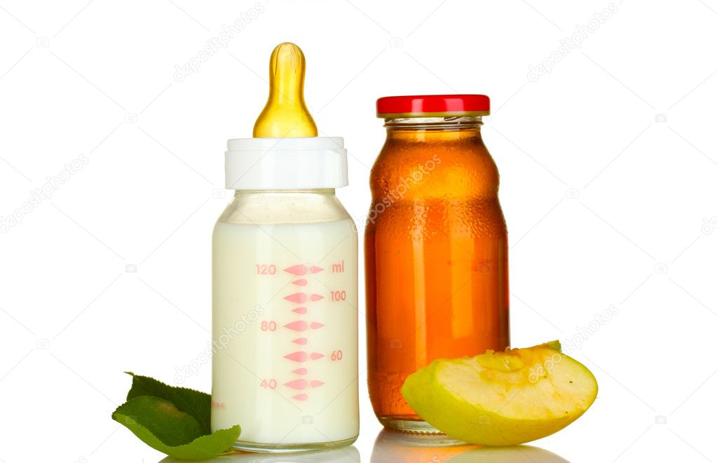 Baby food, bottle and fruit isolated on white  Stock Photo #6676871
