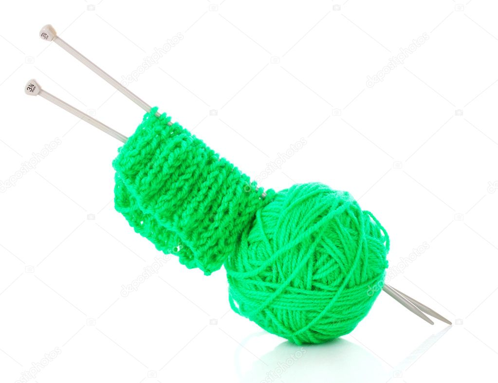 Knitting Wool And Needles : Knitting needles and wool ball isolated on white — stock