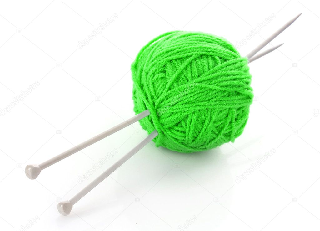 Knitting Patterns Wool And Needles : Knitting needles and wool ball isolated on white   Stock ...