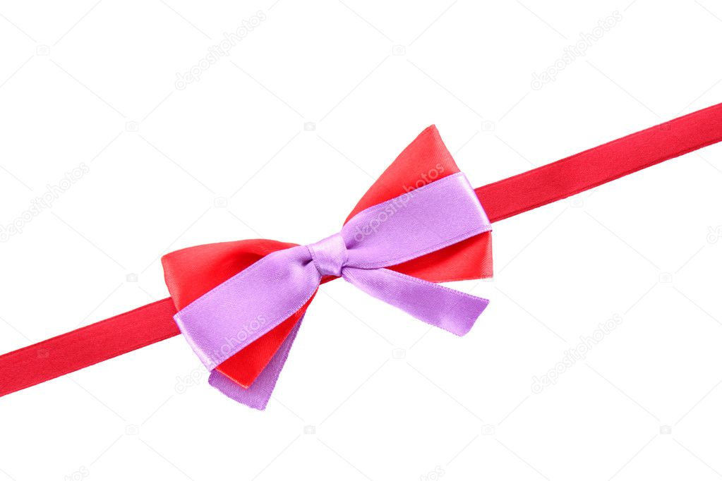 Gift red ribbon and bow isolated on white background — Stock Photo #6677903
