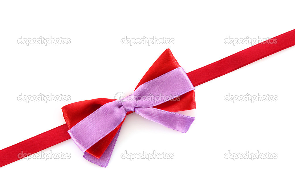 Gift red ribbon and bow isolated on white background — Stock Photo #6677910