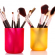 Royalty-Free Stock Photo: Cosmetic brushes in cup white