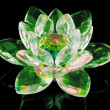 Glass lotus flower on black — Stock Photo