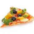 Tasty pizza with olives isolated on white — Stockfoto