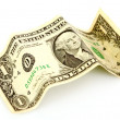 1 dollar bill isolated — Stock Photo