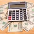 Stock Photo: Dollars and calculator