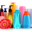 Stock Photo: Bottles of health and beauty products on white background