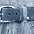Blue jeans with belt — Stock Photo