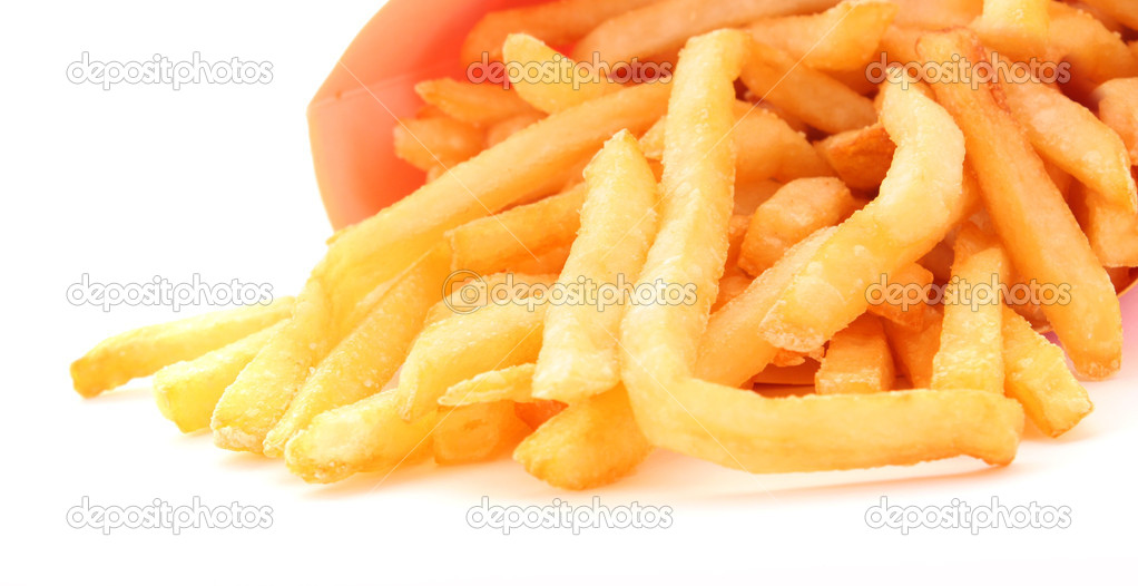French fries potatoes in red  box on white — Stock Photo #6680092