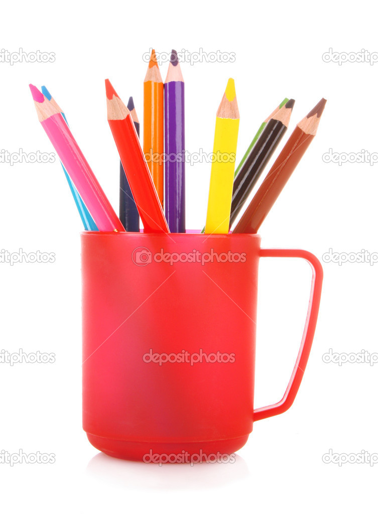 Many colorful pencils in the cup  on the white background  Stock Photo #6686212