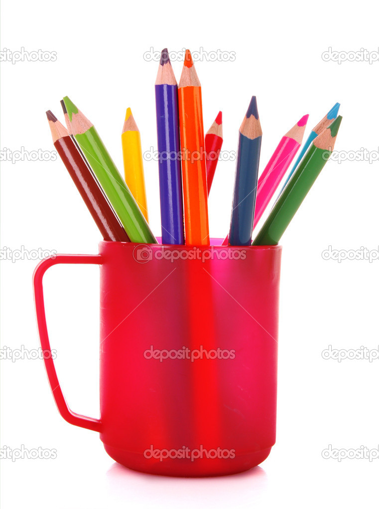 Many colorful pencils in the cup  on the white background — Stock Photo #6686214