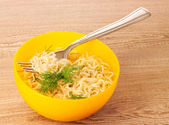 Delicious noodles in a plate — Stock Photo