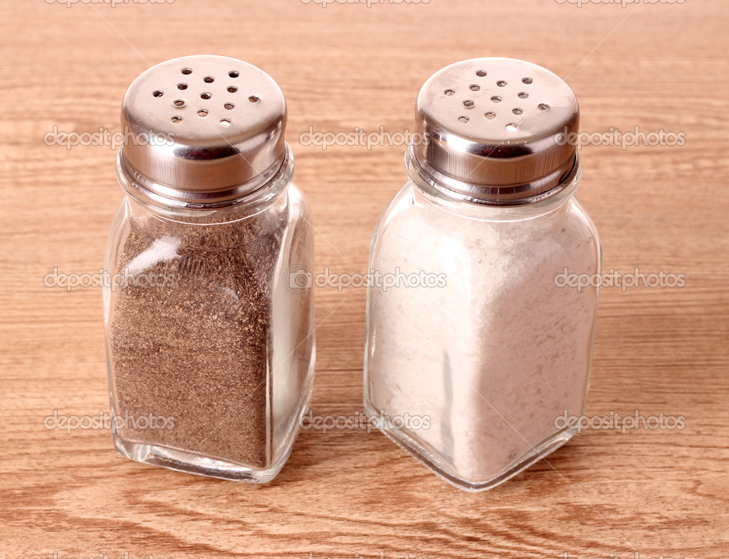 Salt in the salt shaker and pepper in a pepper shaker for The saltbox