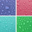 Four water drops background of different colors — Stock Photo #6710435