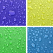 Four water drops background of different colors — Stock Photo #6710448