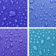 Four water drops background of different colors — Stock Photo