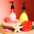 Sea salt, soap and rose on a red background — Stock Photo