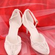 Closeup of fashionable bridal wedding shoes — Stock Photo