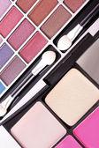 Big eye shadow kit and applicator — Stock Photo