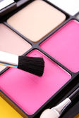 Big eye shadow kit with rouge and brush — Stock Photo