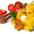 Tasty vermicelli, spaghetti and vegetables — Stock Photo