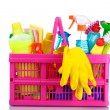 Full box of cleaning supplies and gloves — Stock Photo #6742535