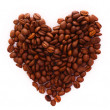 Roasted coffee beans in the shape of the heart — Stock Photo
