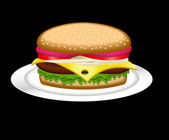 Hamburger on a plate — Stock Vector