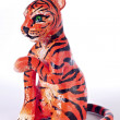 Painted plasticine tiger — Stock Photo