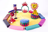 Plasticine circus performance — Stock Photo