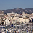 View from old port to Marseille, France — Stock Photo