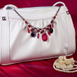 White handbag with necklace and pearls — Stock Photo #6740823