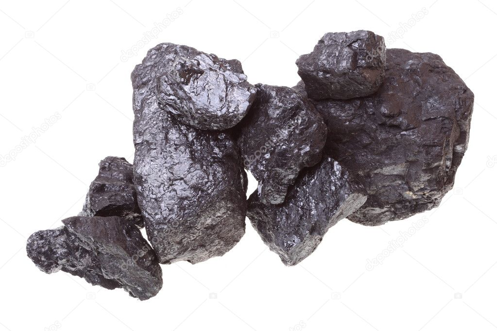 Pieces of coal isolated on white background — Stock Photo #6640847