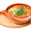 Tomato soup, parsley isolated white background - Stock Photo