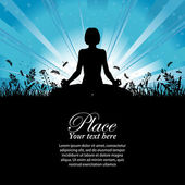 Silhouette of a Girl in Yoga pose — Stock Photo