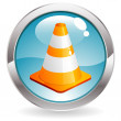 Gloss Button with Traffic Cone — Stock Vector