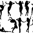 Collect dancing silhouettes — Stockvectorbeeld
