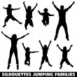 Silhouette happy jumping family - Stok Vektör