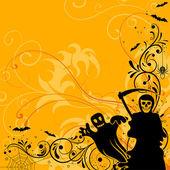 Floral Halloween background — Stock Vector