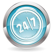 Gloss Button with twenty four hours by seven days — Stock Vector