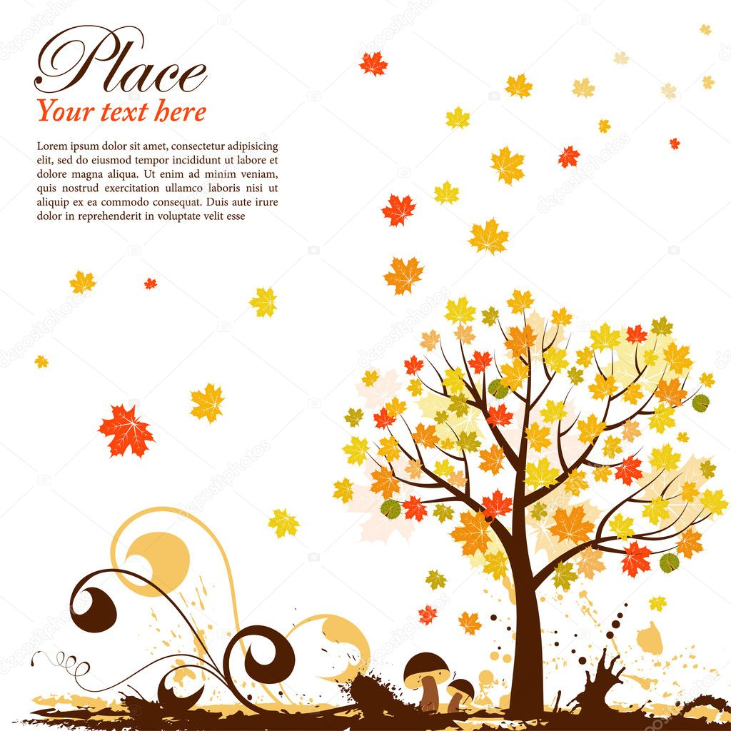 Grunge Autumn Background with tree and chestnut, element for design, vector illustration  Stock Vector #6697606