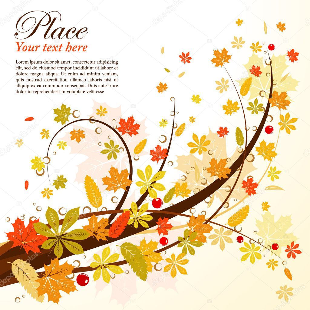 Autumn Background with leaf, element for design, vector illustration — Stock Vector #6697614