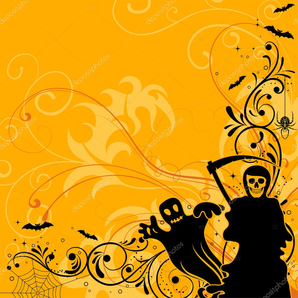 Halloween background with bat, ghost, element for design, vector illustration — Stock Vector #6697655