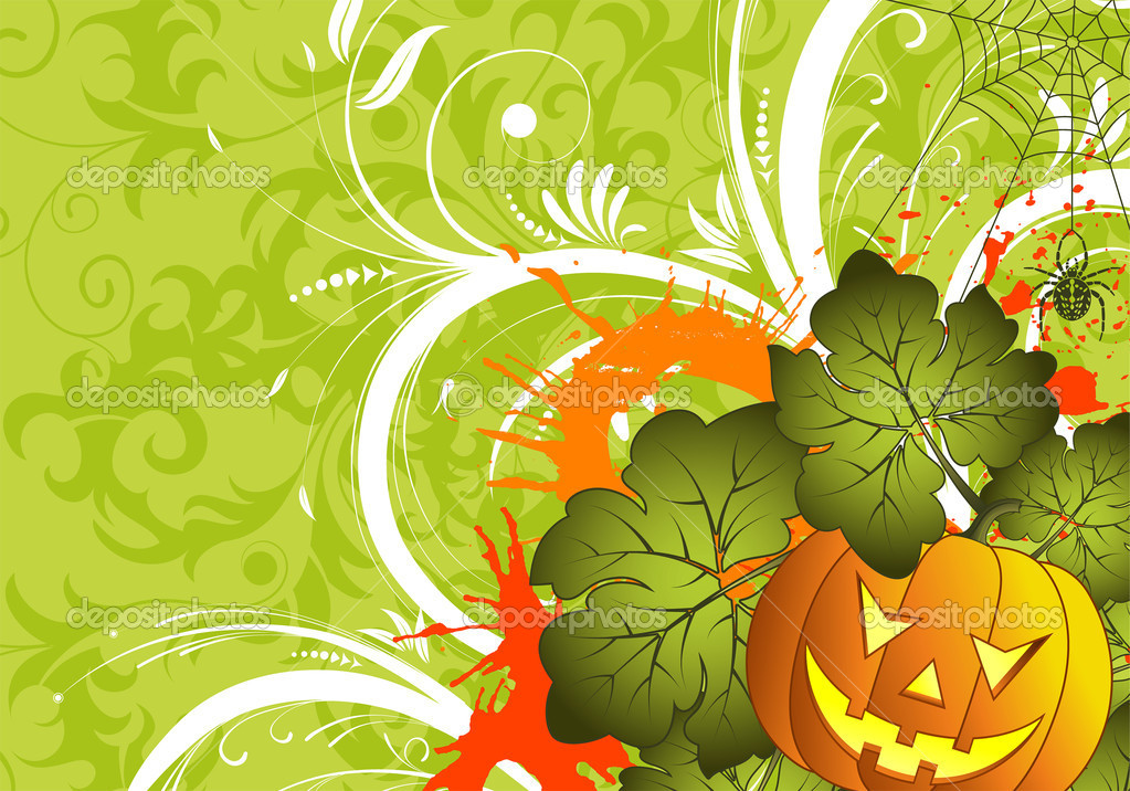 Grunge Halloween background with pumpkin and spider, element for design, vector illustration — Stock Vector #6697683