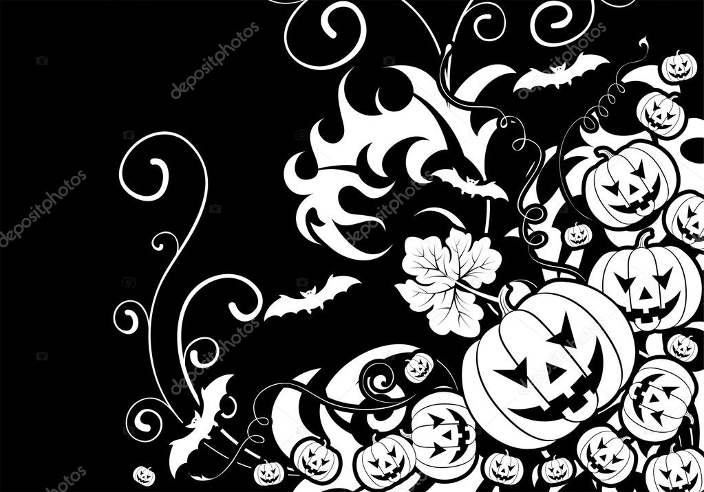 Halloween background with bat and pumpkin, element for design, vector illustration — Stock Vector #6697684