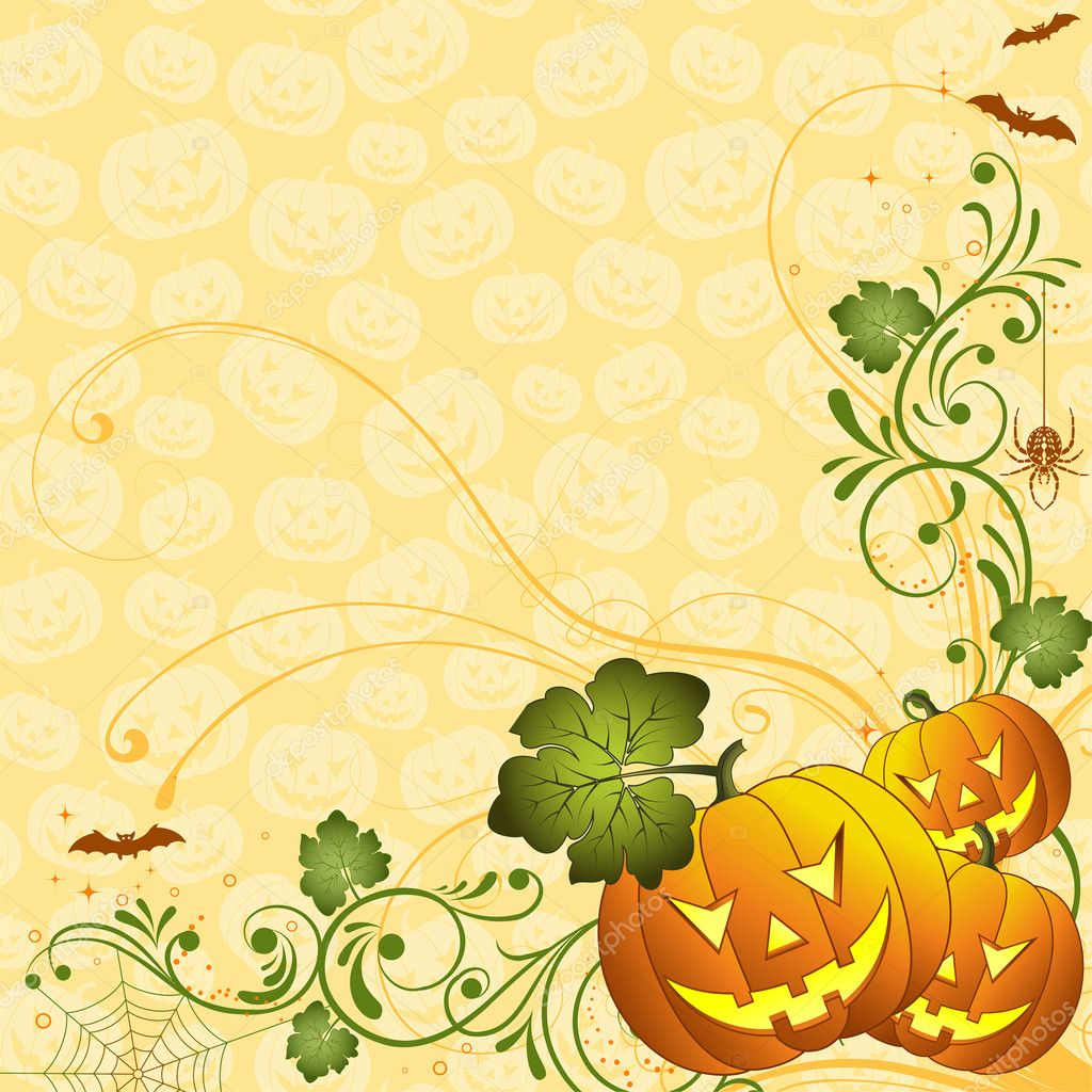 Halloween background with bat and pumpkin, element for design, vector illustration  Stock Vector #6697702