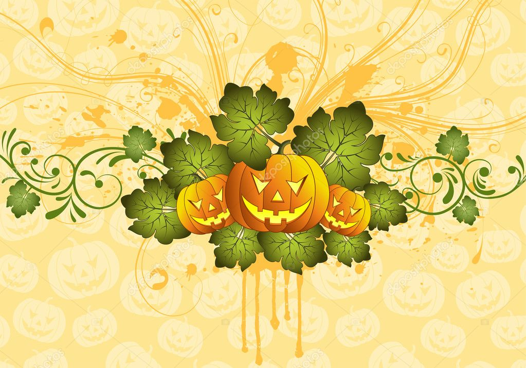 Grunge Halloween background with pumpkin, element for design, vector illustration — Stock Vector #6697717